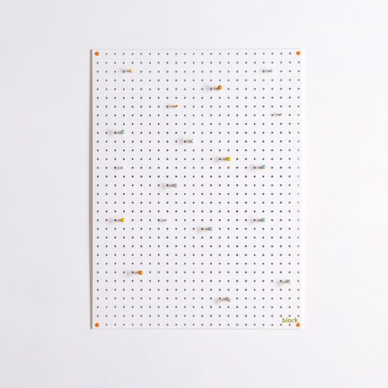 Large Block Wooden Pegboard with Pegs  - White